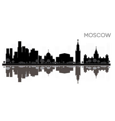 Moscow city skyline black and white silhouette vector