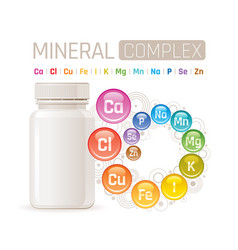 Multi mineral vitamin complex supplement 3d vector