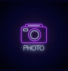 neon sign photo camera symbol with text vector image