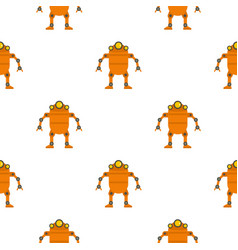 Orange abstract robot pattern seamless vector