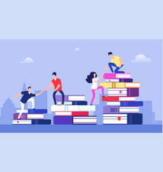 People climbing books business success education vector