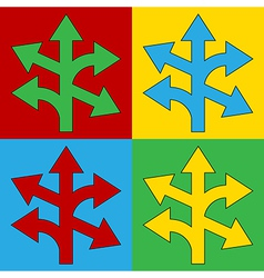 Pop art straight left and right arrow icons vector