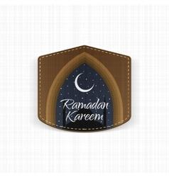 Ramadan Kareem realistic Label with Ribbon vector