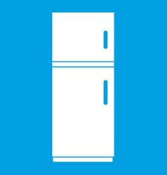 Refrigerator icon white vector