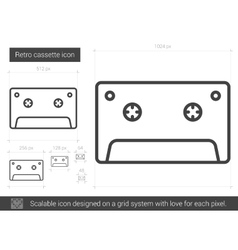 Retro cassette line icon vector