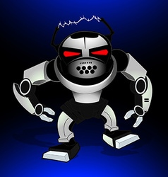 Robot attack warrior with red eyes vector