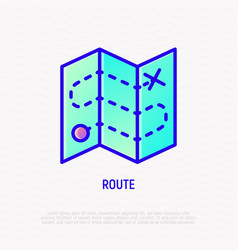 route on folded map thin line icon vector image