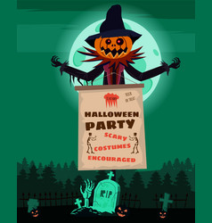 scarecrow character at cemetery with a jack o vector image