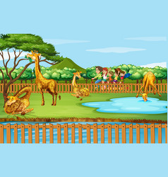 Scene with giraffes and people at zoo vector