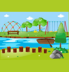 scene with river and playground vector image