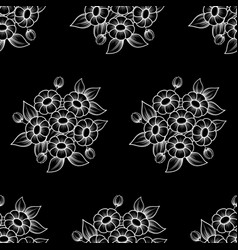 seamless daisy white outline background vector image