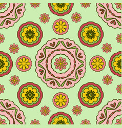 Seamless pattern with floral ornament sunny warm vector