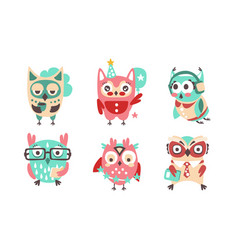 set cartoon stylish owls vector image