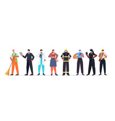 Set mix race people different occupations vector