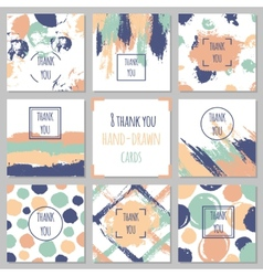 Set of thank you cards Hand drawn backgrounds vector image