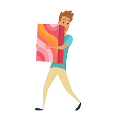 shopping man character with gift box in his hands vector image