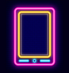 smartphone neon sign icon phone in retro style vector image