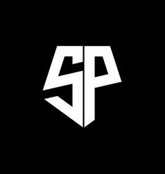 sp logo monogram with pentagon shape style design vector image