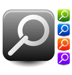 square magnifying glass magnifier icons 5 colors vector image