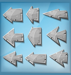 Stone arrows signs for ui game vector