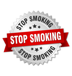 Stop smoking 3d silver badge with red ribbon vector