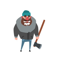 strong woodcutter standing with axe in hand vector image