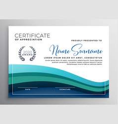 Stylish blue wave certificate of appreciation vector