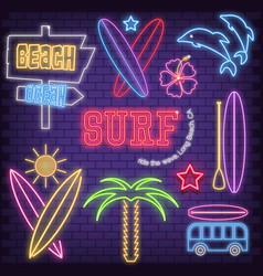 Surf neon icons vector