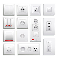 Switches and sockets realistic set vector
