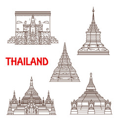 thailand phayao and chiang mai temples vector image