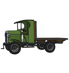 The vintage green flat truck vector