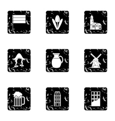 Tourism in Holland icons set grunge style vector