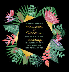 Tropical wedding invitation with geometric frame vector