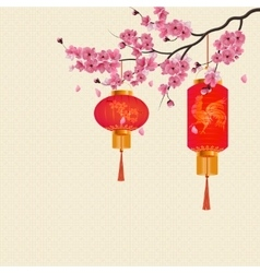 Two red Chinese lanterns on a branch of cherry vector image