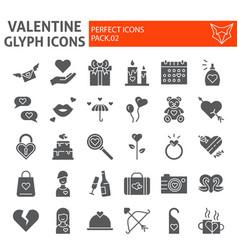 valentines day glyph icon set romance symbols vector image