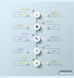 vertical timeline with 5 white round elements vector image