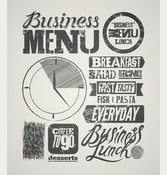 Vintage business lunch menu typographic design vector