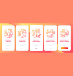 Wealth manage services onboarding mobile app page vector