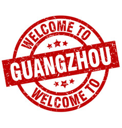 welcome to guangzhou red stamp vector image