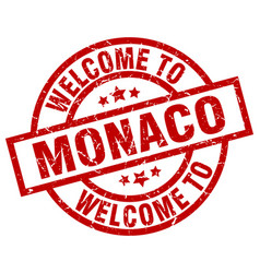 Welcome to monaco red stamp vector