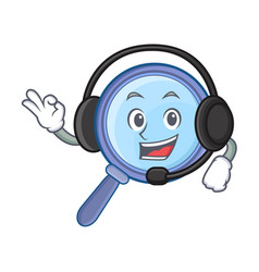 With headphone magnifying glass character cartoon vector