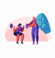 woman squatting with weight in gym female coach vector image