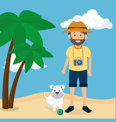 Youn man with dog in the beach vector