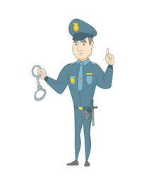 Young caucasian policeman holding handcuffs vector