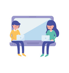Young woman and boy student with laptop learning vector