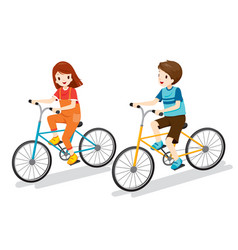boy and girl riding bicycle vector image