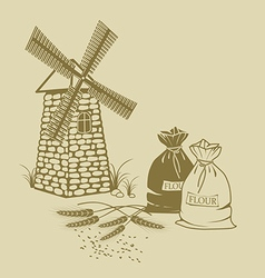 ears of wheat sacks of flour and windmill vector image
