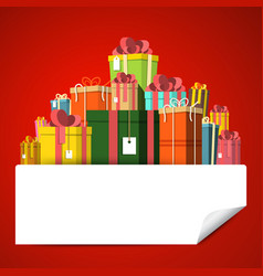 gift box pile on red background present boxes vector image vector image