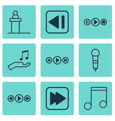 set of 9 music icons includes music control vector image vector image