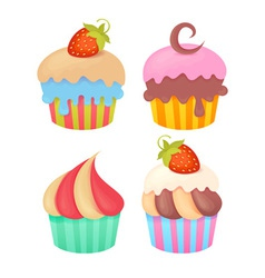 Set of tasty colorful muffins vector image
